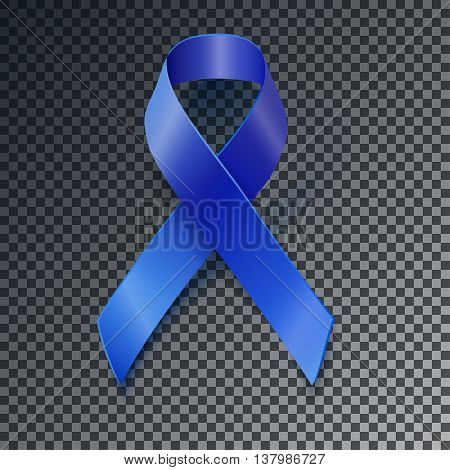 Awareness Blue Vector Ribbon Transparent Shadow