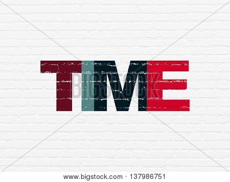 Time concept: Painted multicolor text Time on White Brick wall background