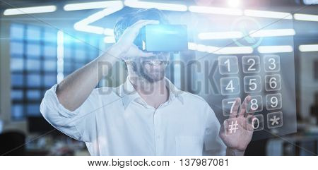 Screen of a smartphone against businessman wearing virtual reality simulator