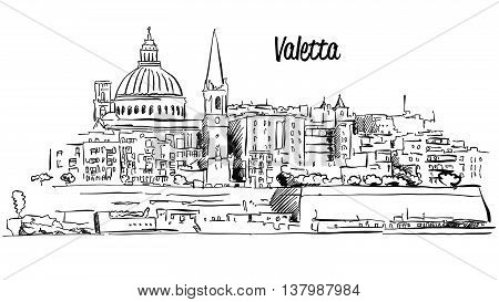 Valetta, Malta. Panorama Waterfront Outline Vector Sketch