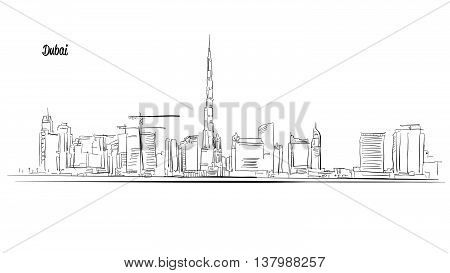 Dubai, United Arab Emirates. Panorama Vector Outline Sketch