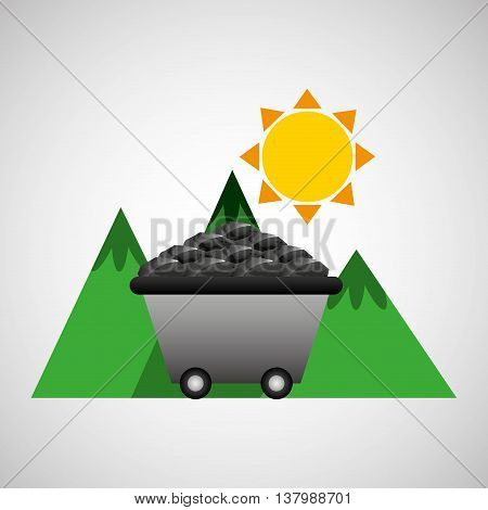 sun and carbon in green montain, vector illustration