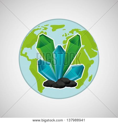 cristal in world map, green concept, vector illustration