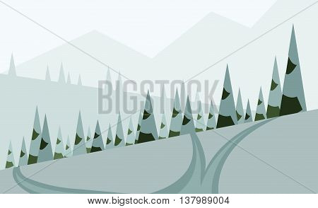 Abstract landscape design with green trees hills and snow a road in winter pine forest flat style. Digital vector image.