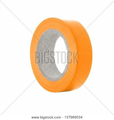 Repairing sticky orange insulation tape reel isolated on white background
