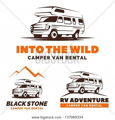 Recreational vehicles camper van logo emblems and badges. RV and caravan park design elements.