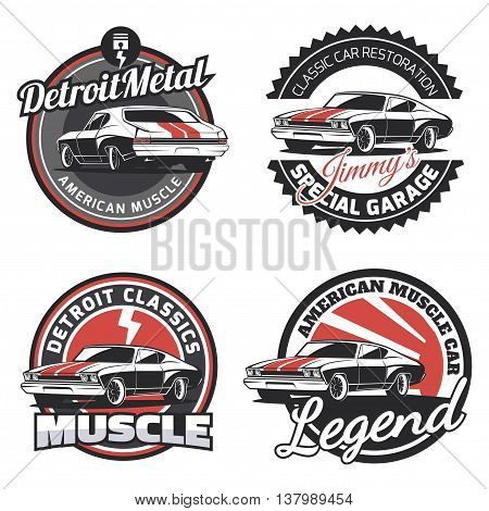 Set of classic muscle car round emblems badges and signs. Service car repair restoration and car club design elements.