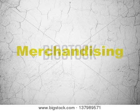 Marketing concept: Yellow Merchandising on textured concrete wall background