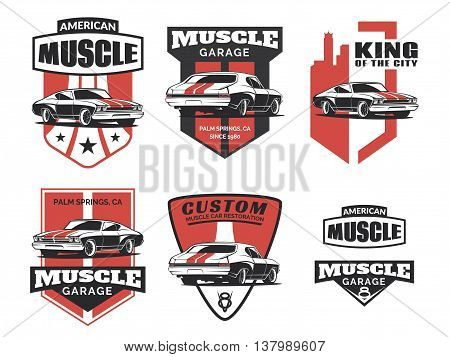 Set of classic muscle car logo emblems badges and icons isolated on white background. Service car repair restoration and car club design elements. Vector.