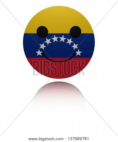Venezuela happy icon with reflection 3d illustration