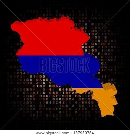 Armenia map flag on hex code 3d illustration