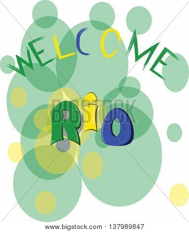 Welcome rio colored hand drawn text on white backdrop. Digital vector image