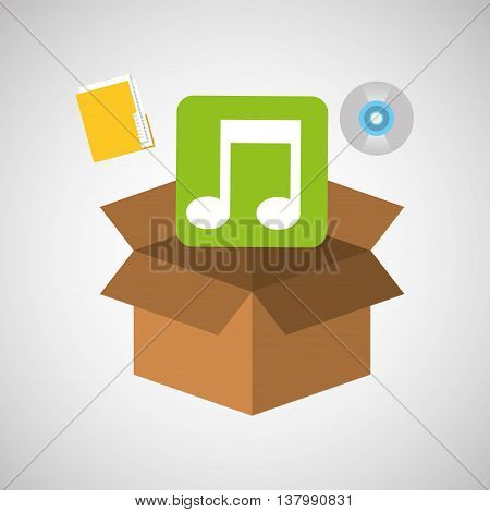 sound and music in a box icon, vector illustration design