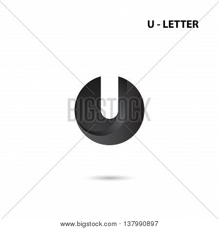 Black circle sign and Creative U-letter icon abstract logo design.U-alphabet symbol.Corporate business and industrial logotype symbol.Vector illustration