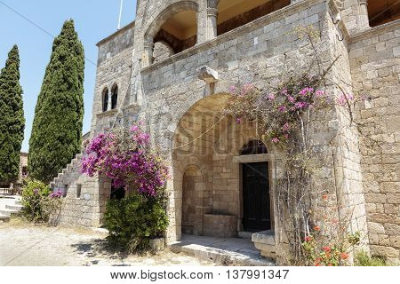 Ruins of the 15th century Monastery of Filerimos Rhodes Dodecanese Greece Europe.