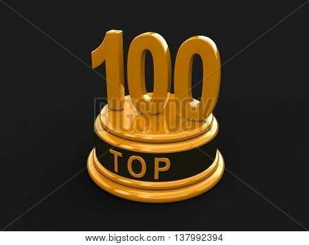 Top 100. Realistic Gold Percent Isolated (3D Render)