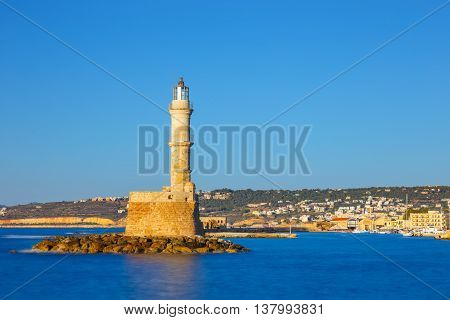 View Of The Old Port And Lighthouse In Chania, Crete, Greece. Long Exposure