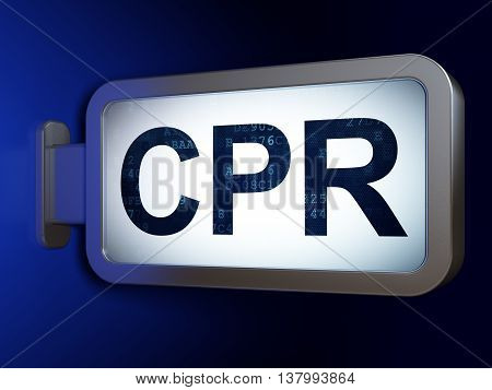 Health concept: CPR on advertising billboard background, 3D rendering