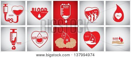 Set Of Blood Donation, Vector Illustration