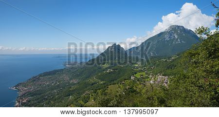 Garda Lake View From Above And View To Monte Castello And Pizzocolo