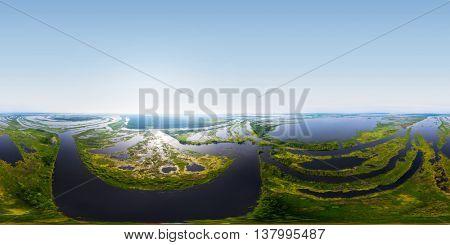 Aerial spherical panorama of the river of Kama, Russia