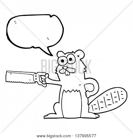 freehand drawn speech bubble cartoon beaver with saw