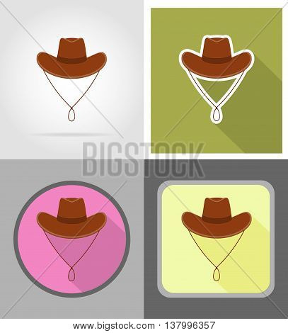 cowboy hat wild west flat icons vector illustration isolated on background