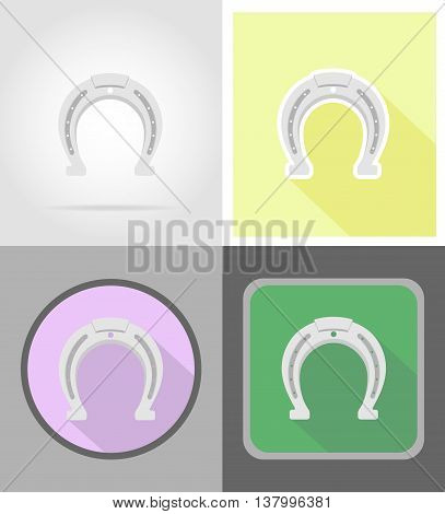 horseshoe wild west flat icons vector illustration isolated on background