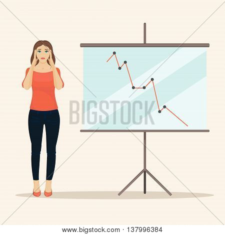 Sad female office worker giving presentation. Upset business woman standing next to a presentation screen with falling diagram. Bad result chart. Business failure and loss. Business situations vector.