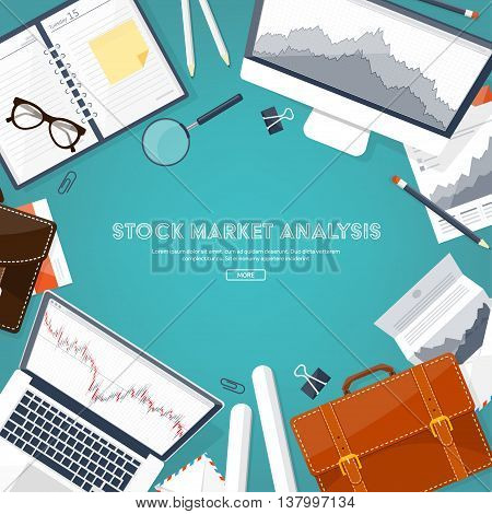 Vector illustration. Flat background. Market trade. Trading platform , account. Moneymaking, business. Analysis. Investing.