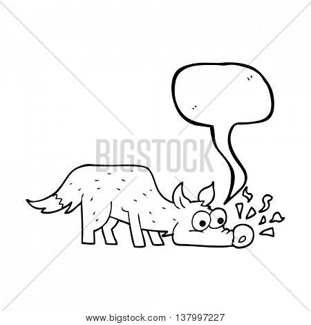 freehand drawn speech bubble cartoon dog sniffing