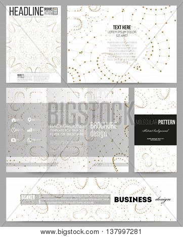 Set of business templates for presentation, brochure, flyer or booklet. Polygonal backdrop with connecting dots and lines, golden connection structure on white background. Digital or science vector