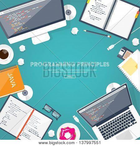 Programming, coding. Flat computing background. Code, hardware, software. Web development. Search engine optimization. Innovation, technologies. Mobile app. Vector illustration. SEO.