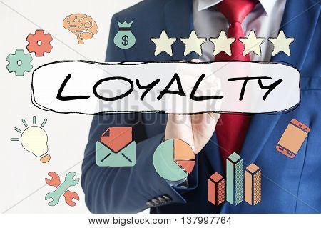 Loyalty Drawn On Virtual Board By Businessman