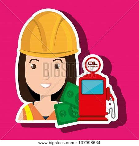 woman with money and oil isolated icon design, vector illustration  graphic