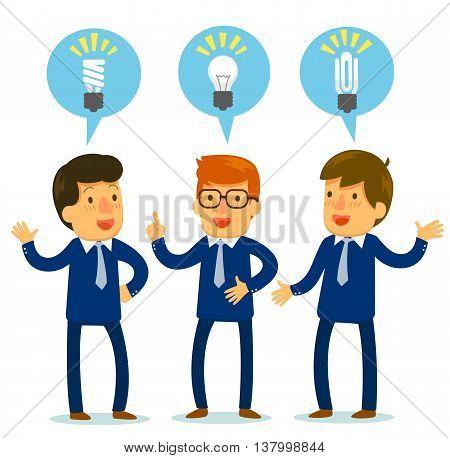 cartoon three businessmen bringing up different ideas, vector