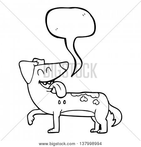 freehand drawn speech bubble cartoon panting dog