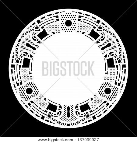 Lace round paper doily greeting element package doily - a template for cutting lace pattern vector illustrations