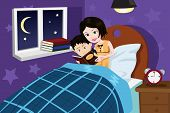picture of mother child  - A vector illustration of a mother reading bedtime story to her son - JPG