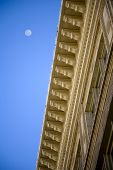 stock photo of corbel  - Architectural detail corbels and the moon in background - JPG