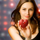 image of valentine heart  - Beautiful Girl with Valentine Heart - JPG