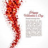 image of valentines day card  - Red hearts confetti fly Valentine - JPG