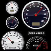 stock photo of meter stick  - set of speedometer vector - JPG