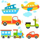 pic of side-views  - cartoon vehicles vector - JPG