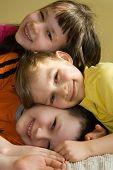 foto of happy kids  - happy kids having fun at home together - JPG