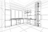 stock photo of interior sketch  - abstract sketch design of interior kitchen in wire frame - JPG