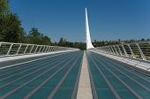 stock photo of calatrava  - Santiago Calatrava designed this Sundial Bridge at Turtle Bay Redding California - JPG