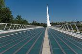 stock photo of calatrava  - Santiago Calatrava designed this Sundial Bridge at Turtle Bay Redding California - JPG