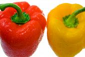 Red And Yellow Bell Peppers. Close-Up 2 poster