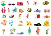pic of beach-ball  - Vector illustration of summer beach travel icons - JPG